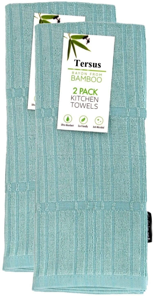 Tersus 2-Pack Solid & Check Parquet Design 100-Percent Cotton Kitchen Cleaning Cloths,-2 Pack