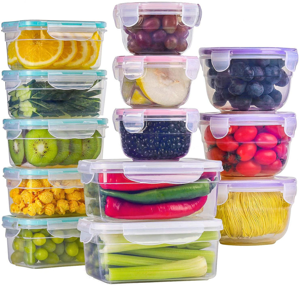 Pleneal Food Storage Containers with Lids, Plastic Food Containers with Lids, Leak Proof Airtight Storage Container Sets for Kitchen, Easy Snap Lock Lunch Box