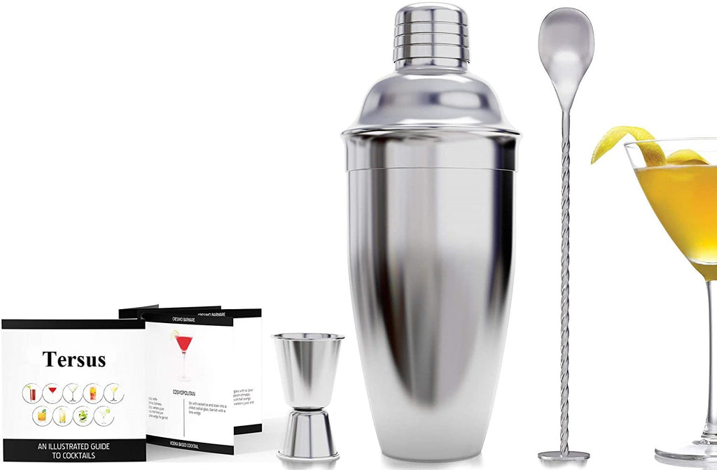 Tersus Cocktail Shaker Bar Set with Accessories  24 Ounce  - Martini Kit with Measuring Jigger and Mixing Spoon plus Drink Recipes Booklet - Professional Stainless Steel Bar Tools - Built-in Bartender Strainer
