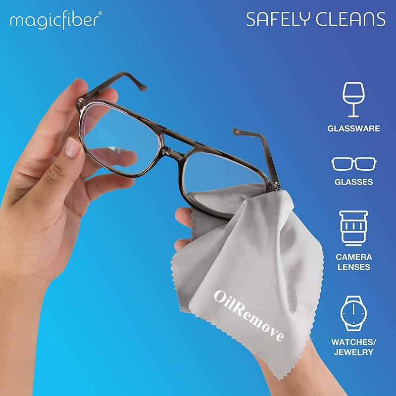 OilRemove Microfiber Cleaning Cloths - 12 PACK - for Cleaning Glasses, Spectacles, Camera Lenses, iPad, Tablets, Phones, iPhone, Android Phones, Laptops, LCD Screens and Other Delicate Surfaces