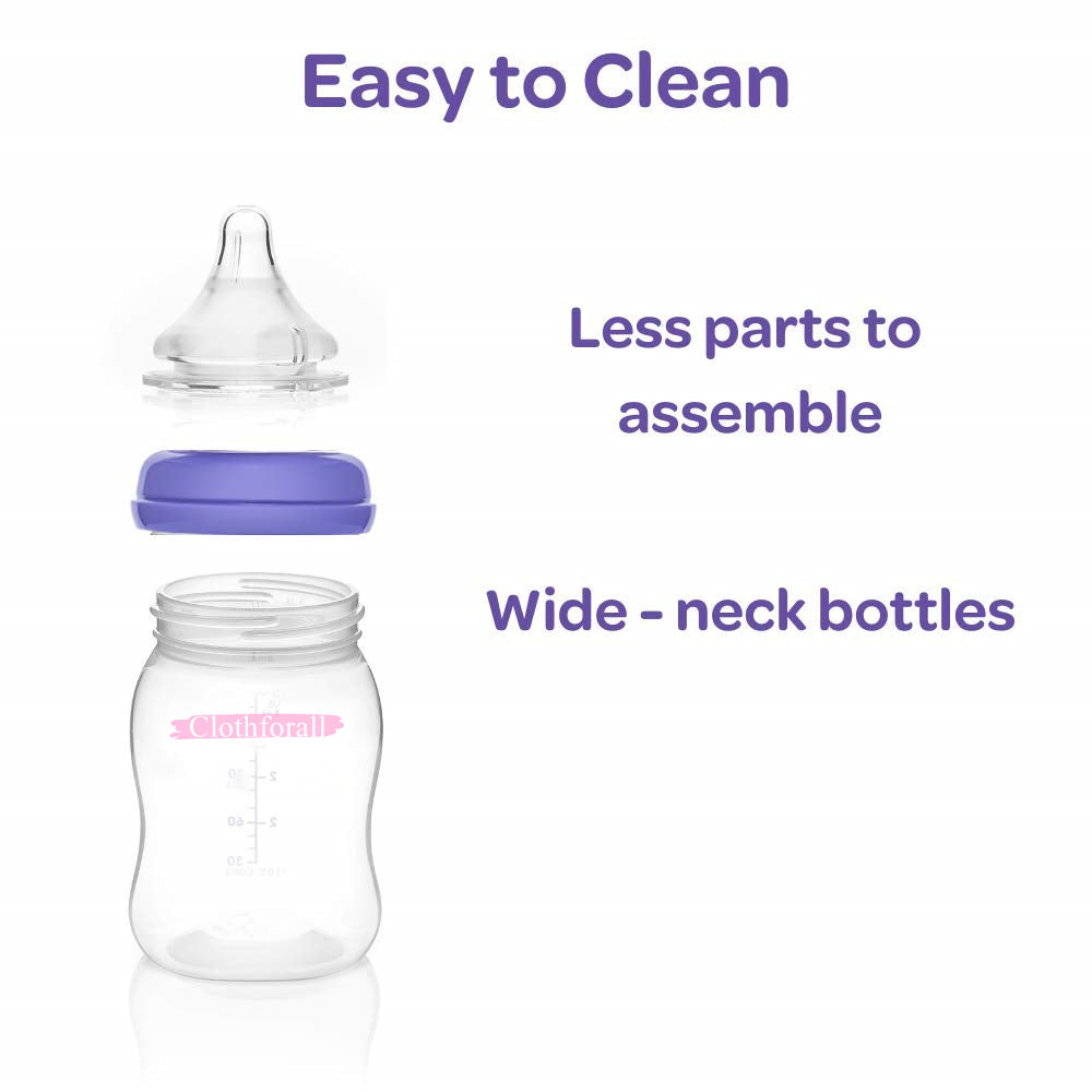 Clothforall Breastfeeding Bottles for Baby with a Preemie Level Nipple, 8 ounces, 3 count