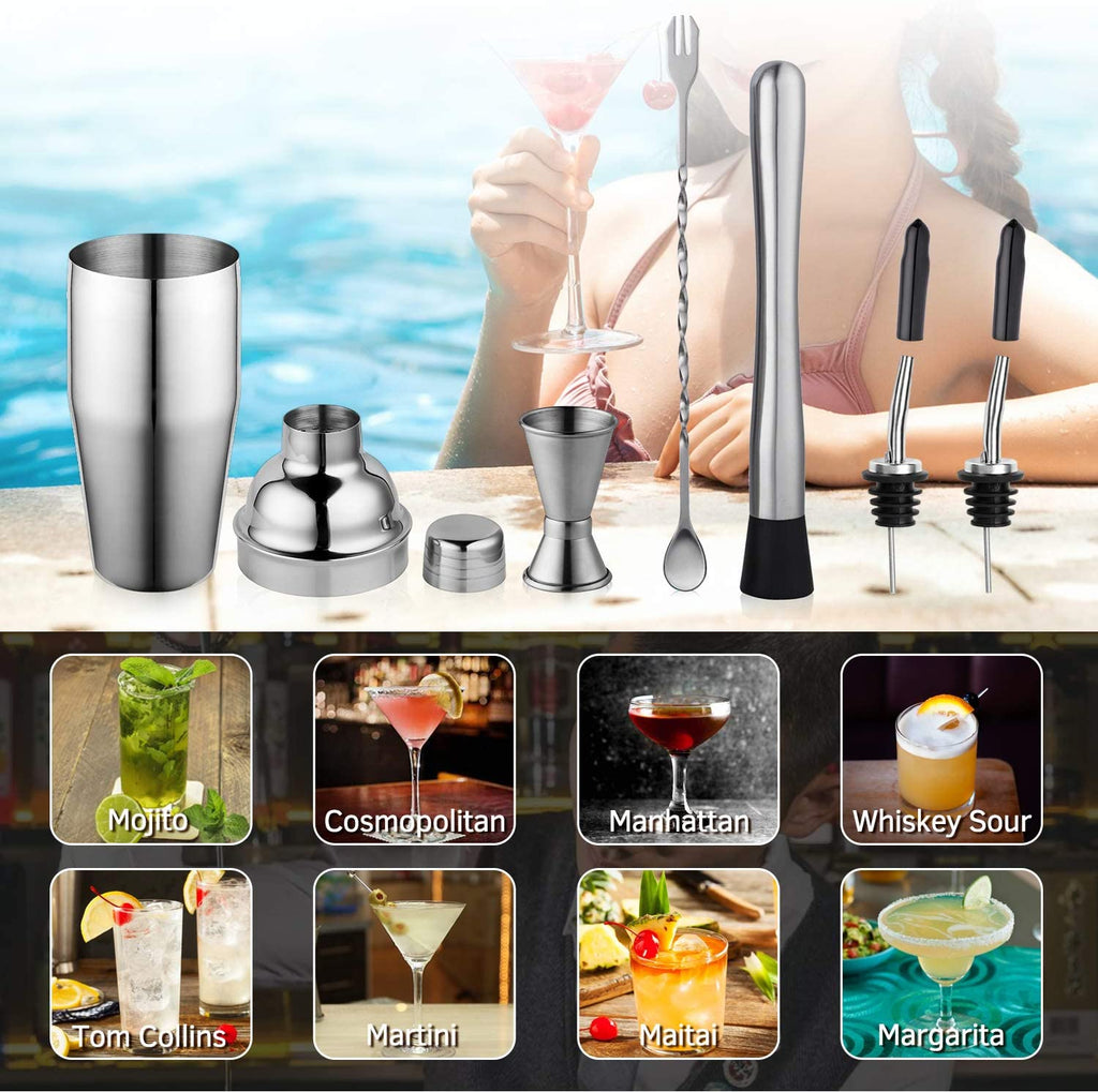 OilRemove Cocktail Shaker Set - Stainless Steel Martini Shaker, Mixing Spoon, Muddler, Measuring Jigger, Liquor Pourers with Dust Caps and Manual of Recipes, Professional Bar Tools