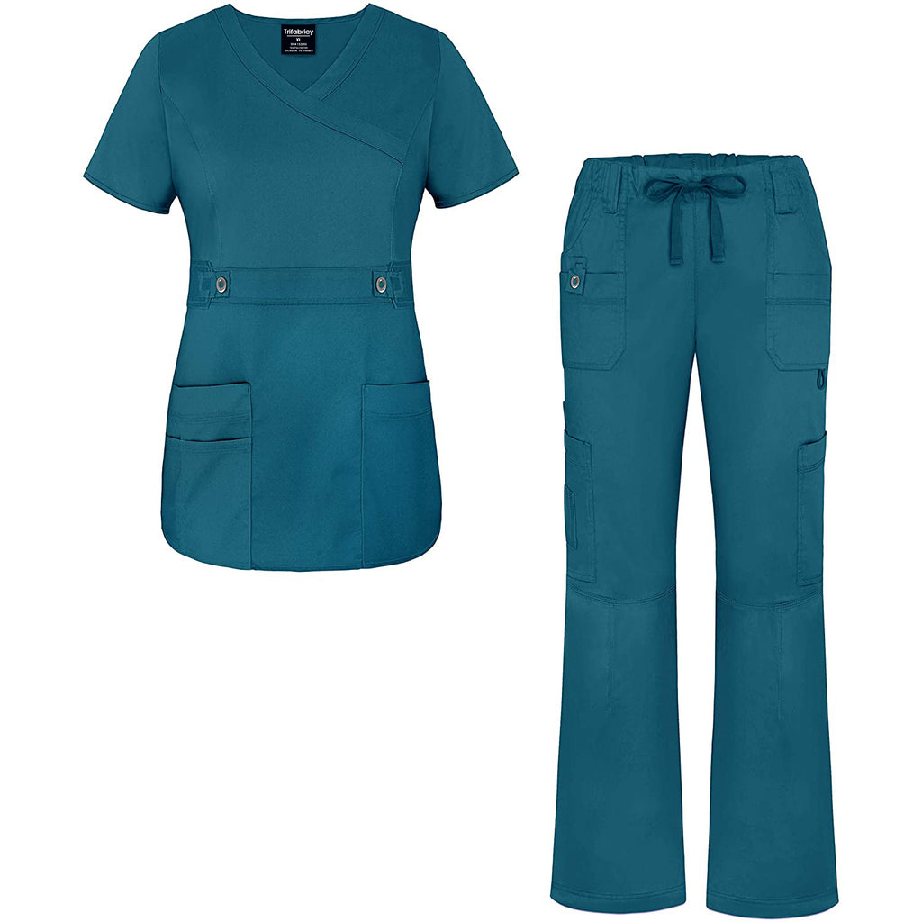 Trifabricy Uniforms Women's Scrub Set - Crossover Top and Multi Pocket Pants - XL