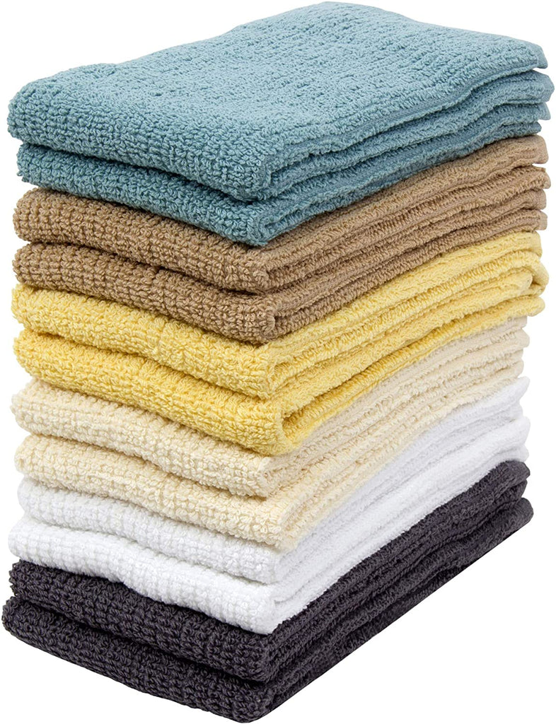 "Clothclose Kitchen Towels, 12 Pack - 100% Soft Cotton - 16"" x 19""  - Dobby Weave - Great for Cooking in Kitchen and Household Cleaning"