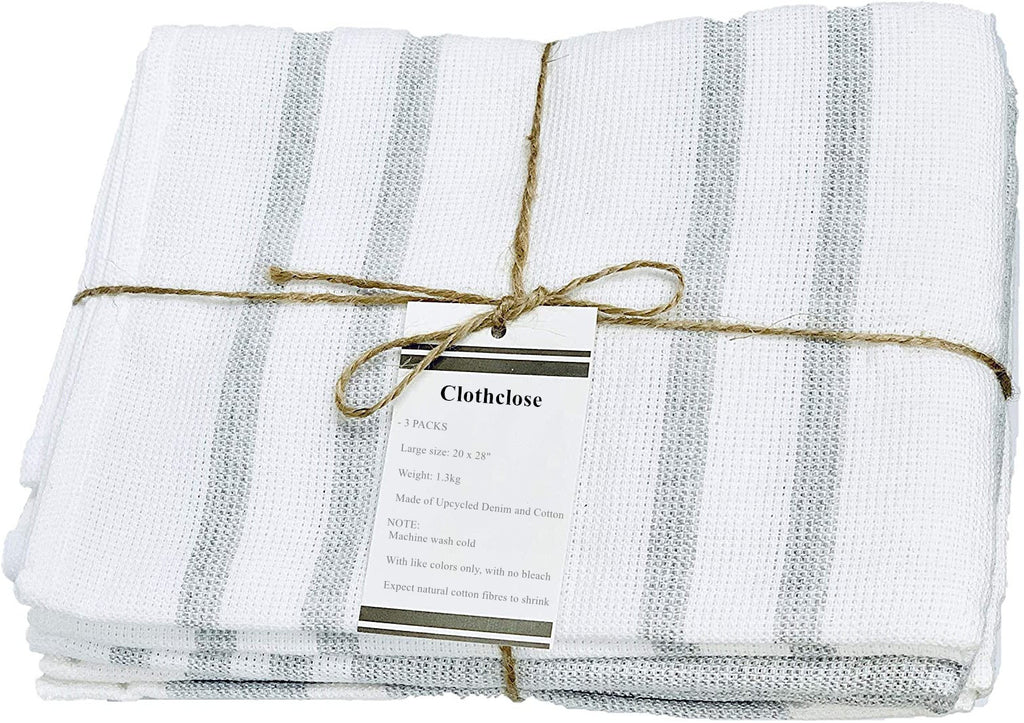 Clothclose Dish Towels Cotton Kitchen Towels | Super Absorbent Weave | Made with Upcycled Denim and Cotton | Set of 3, 20 x 28 in. Zero Waste Unpaper Towels Kitchen Towels and Dishcloths Sets