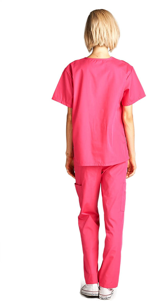 Coclothy Scrubs Medical Uniform Women and Man Scrubs Set Medical Scrubs Top and Pants