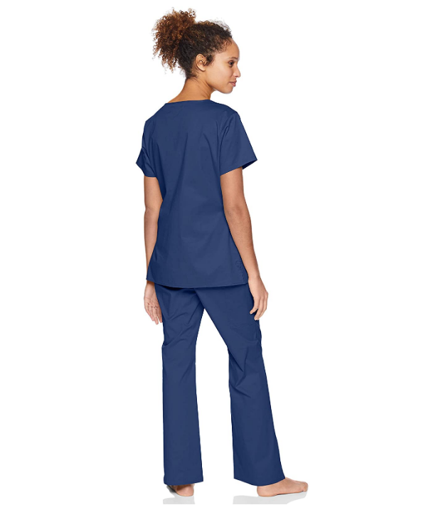 Feteulo Women's Quick-Dry Stretch Scrub Top, Surgical Navy Blue, V-Neck, Medium