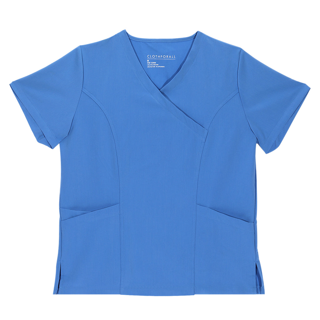 Clothforall Comfortable & Lightweight V-neck Scrub Top for Women, Blue