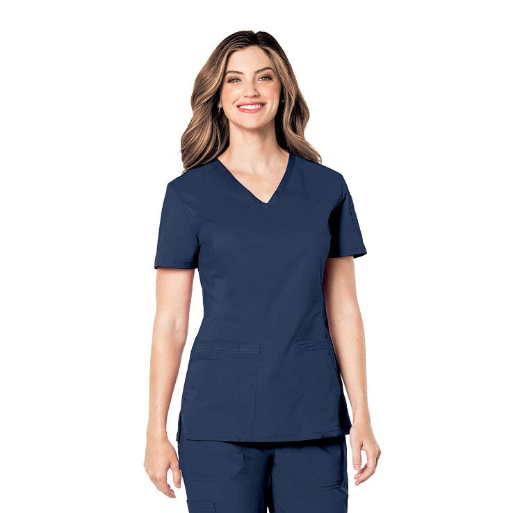 TAVALEU WOMEN'S PRE-WASHED ULTRA SOFT STRETCH V-NECK SCRUB TOP, MEDIUM