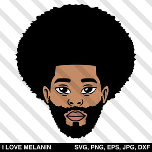 Afro Man Beard SVG