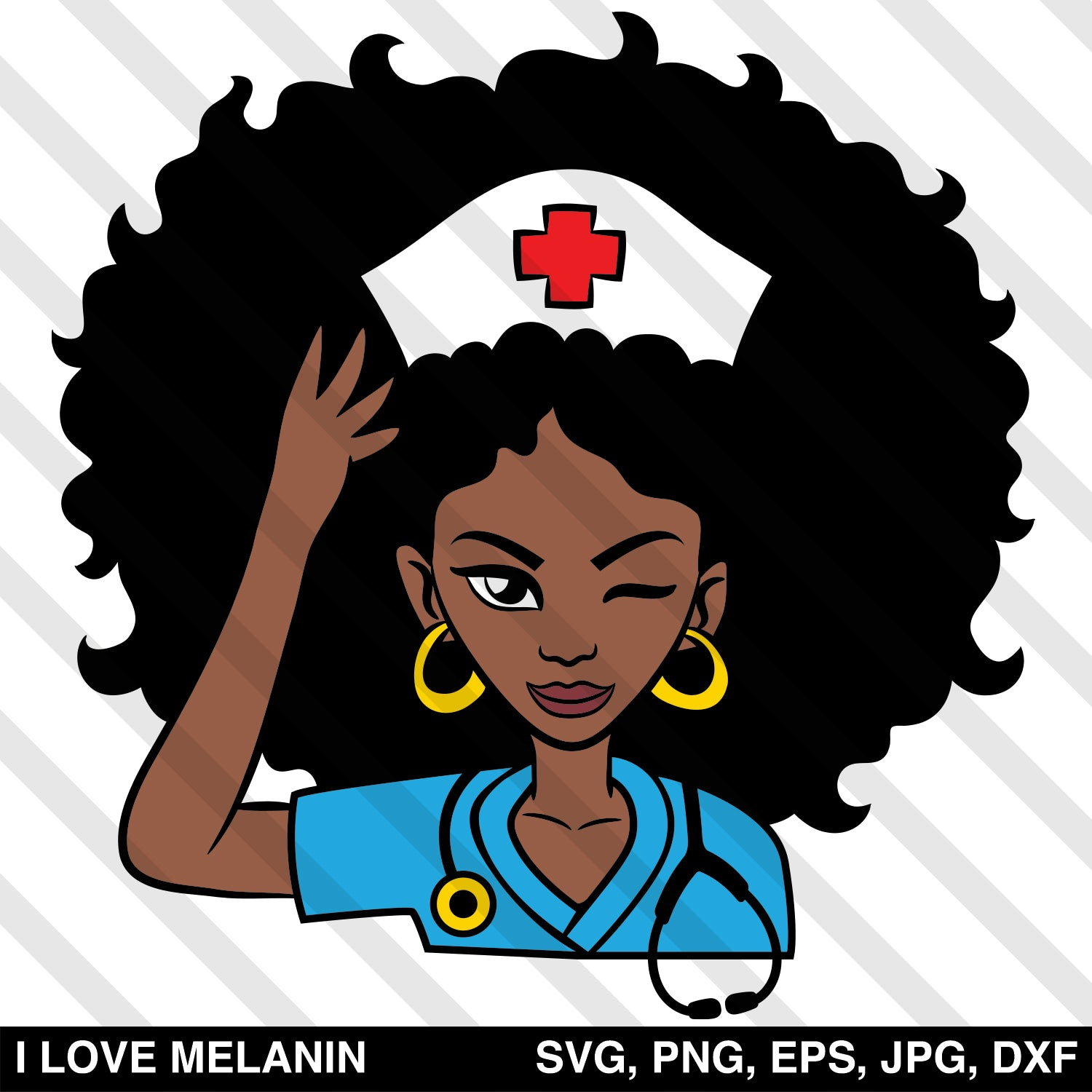 Afro Woman Doctor Nurse SVG