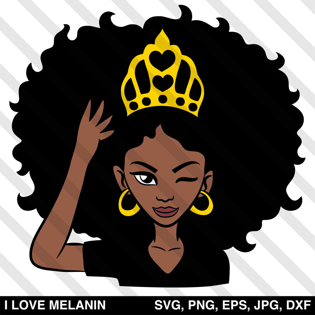 Black Queen Crown Woman SVG