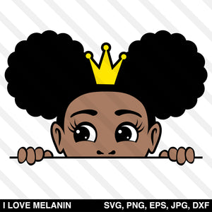 Peekaboo Afro Puffs Crown Girl SVG