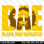 BAE Black And Educated Grad Woman SVG