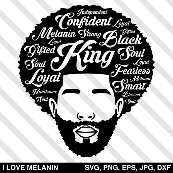 Black King Afro Man SVG