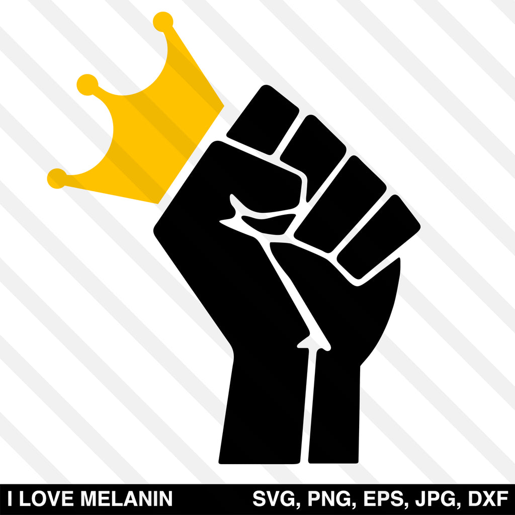 Black Power Fist Crown SVG
