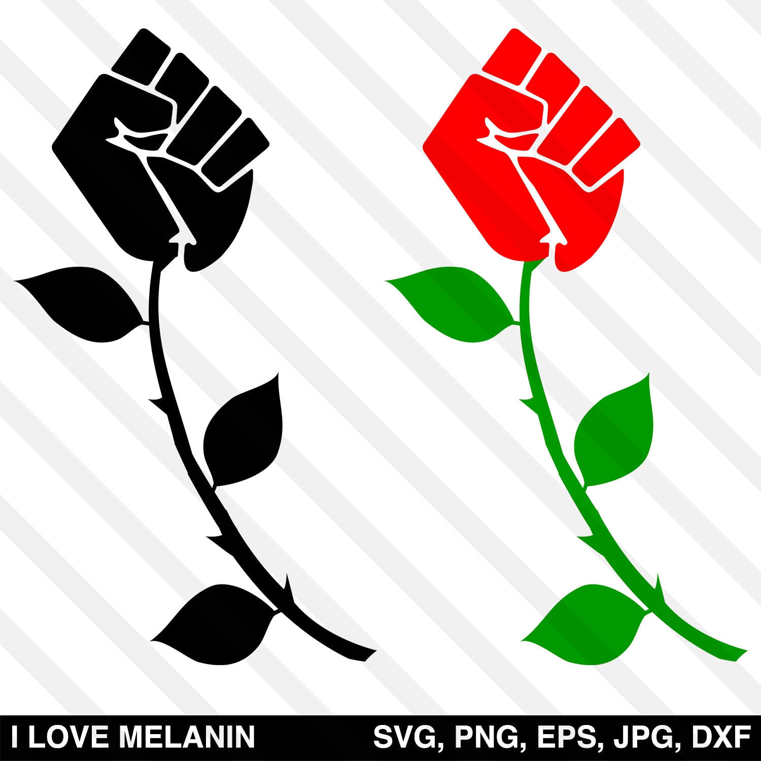 Black Power Fist Rose SVG