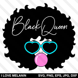 Black Queen Afro Woman Bubble Gum SVG