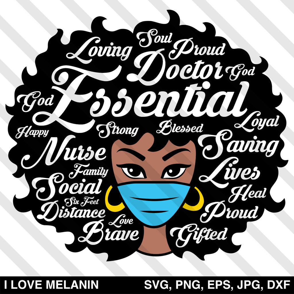Essential Worker Afro Woman Nurse SVG