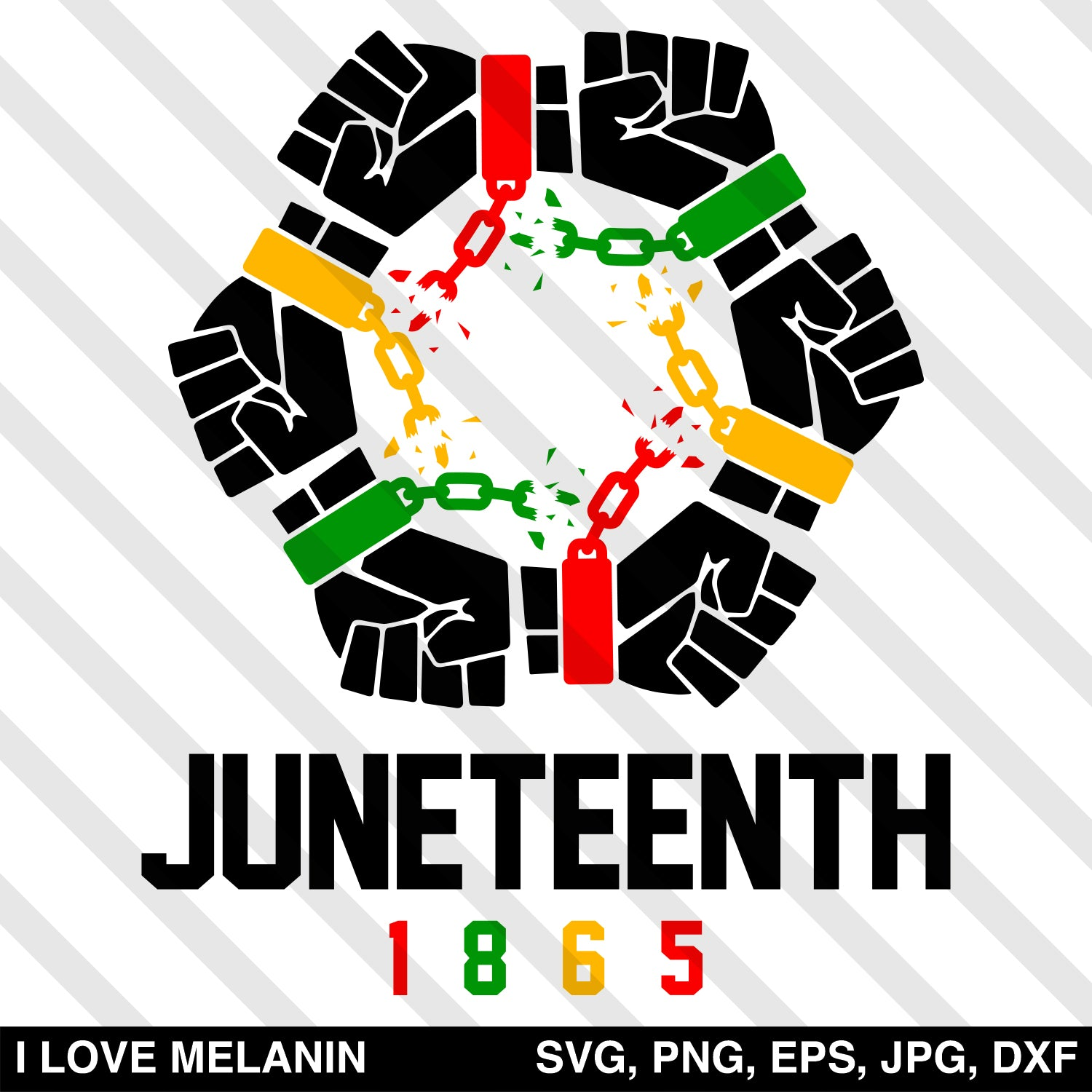 Juneteenth United Freedom Fists 1865 SVG