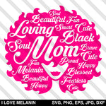 Mother's Day Black Mom Afro SVG