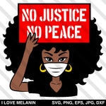 Afro Woman No Justice No Peace SVG
