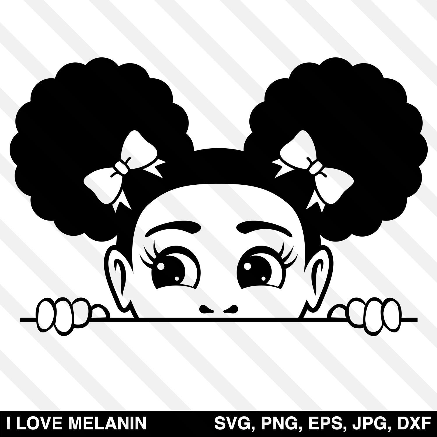 Peekaboo Afro Puffs Girl SVG