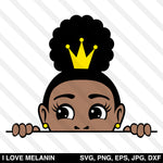 Peekaboo Afro Puff Crown Girl SVG