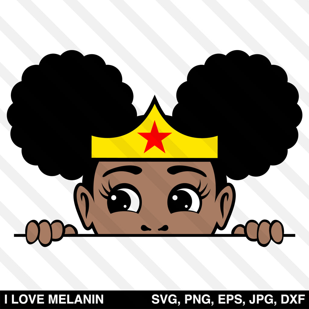 Peekaboo Afro Puff Superhero Girl SVG
