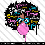 Savage Drip Afro Woman SVG