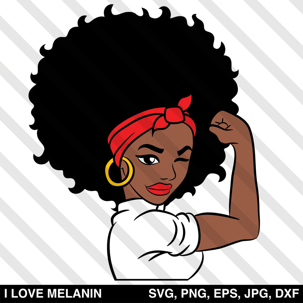 Strong Black Woman Afro SVG