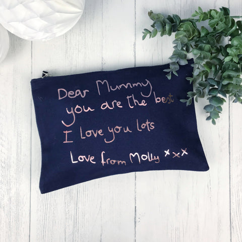 Double Sided Handwritten Message Make Up Bag