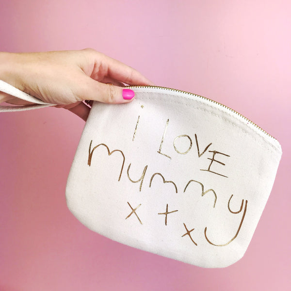 handwriting wrist bag