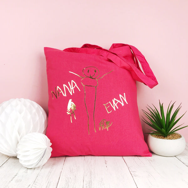 childrens drawing tote bag