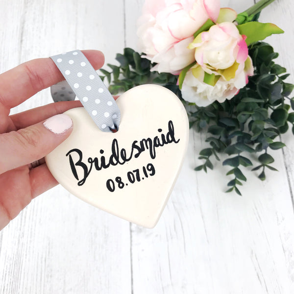Bridesmaid Personalised Ceramic Heart