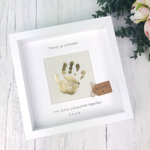 First Christmas Nanny and Grandad Handprint Frame