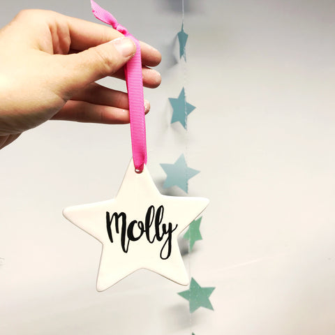 Personalised Ceramic Star- Hand Lettered