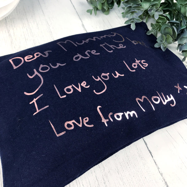 Handwritten Message Make Up Bag