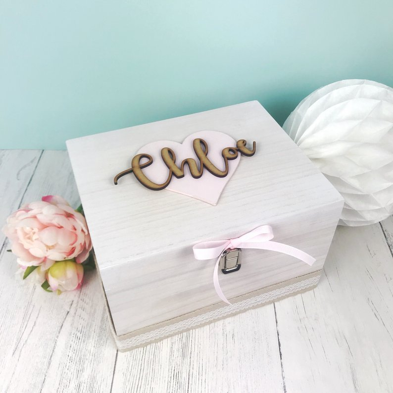 Script Lettering Keepsake Box (Heart)