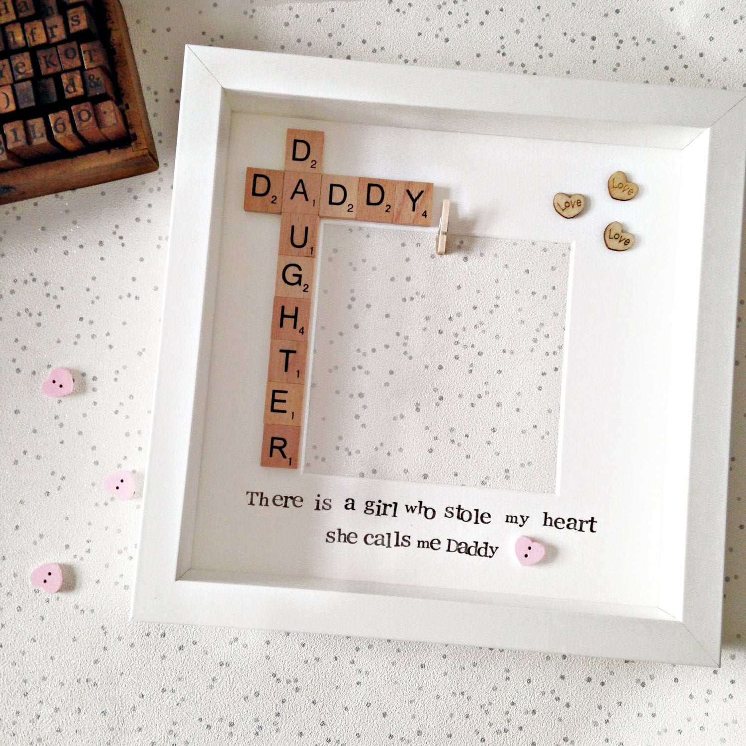 Daddy & Daughter Personalised Photo Frame- Pink