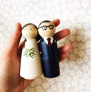 Hand Painted Wooden Wedding Cake Toppers