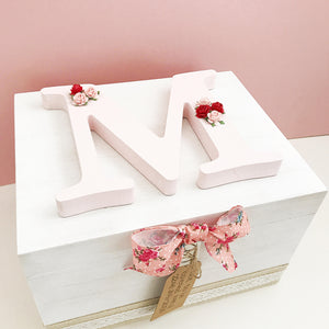 Pink Floral Wooden Keepsake Box