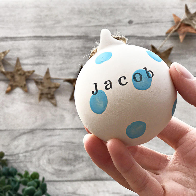 Personalised Ceramic Bauble- Blue Dots