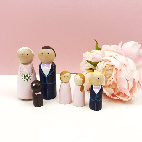 Peg Doll Couple With Wedding Party