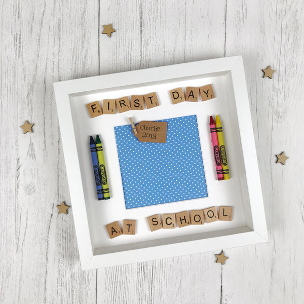first day at school photo frame blue