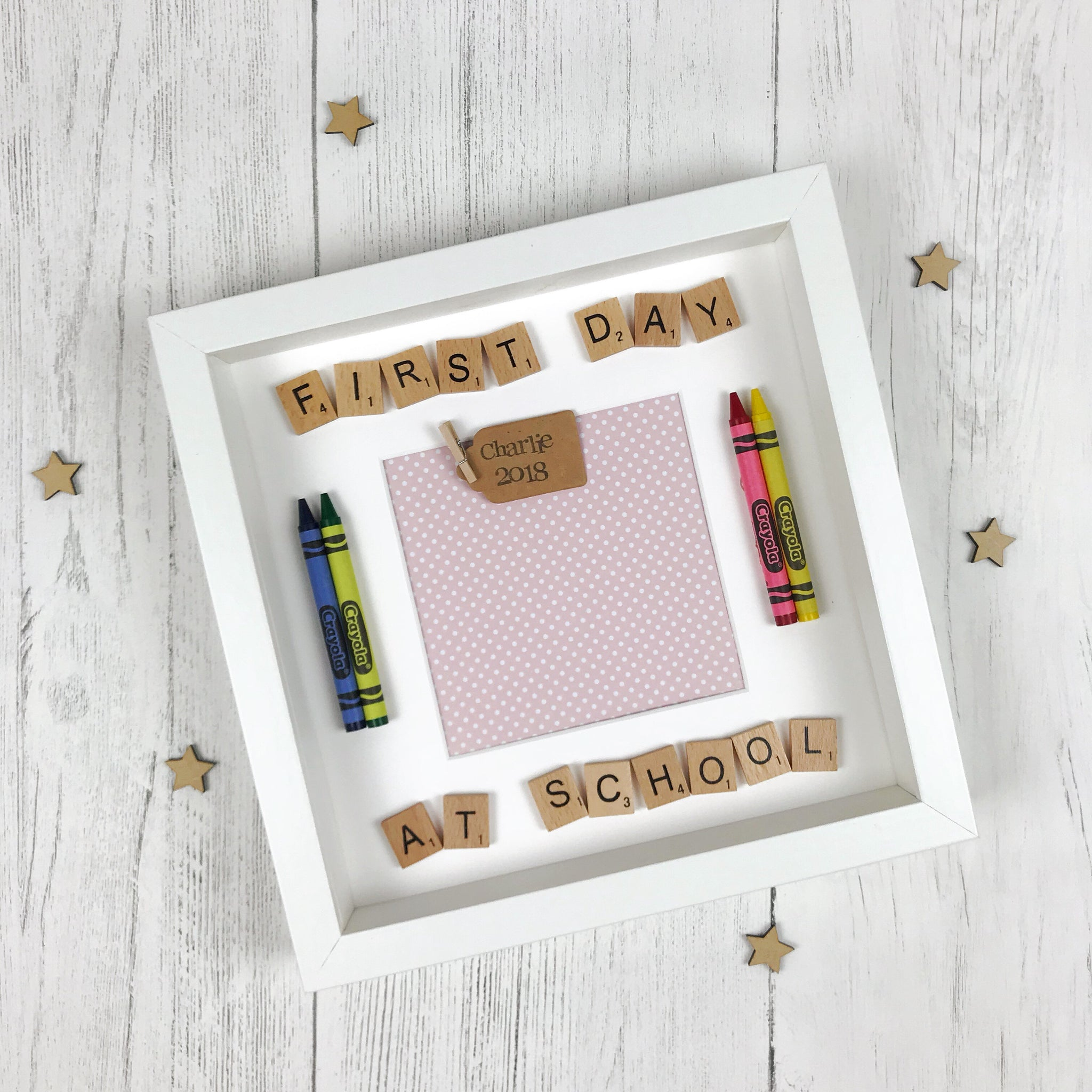 first day at school photo frame pink