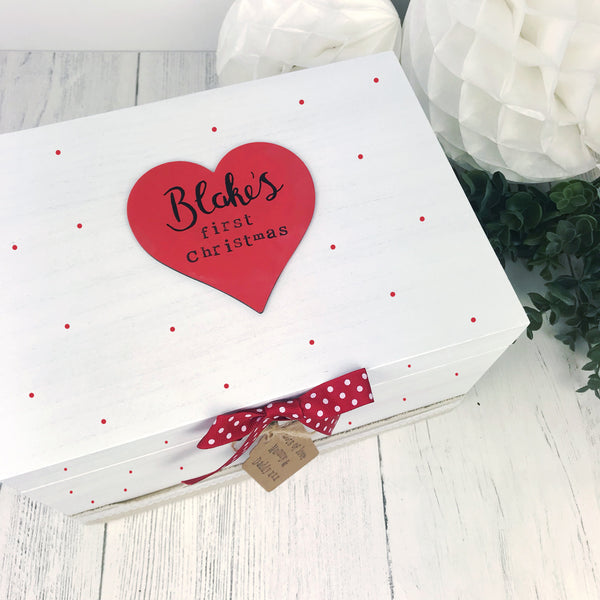 Babys First Christmas Hand Lettered Memory Box