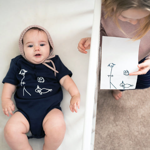 Little Sibling Drawing Baby Onesie