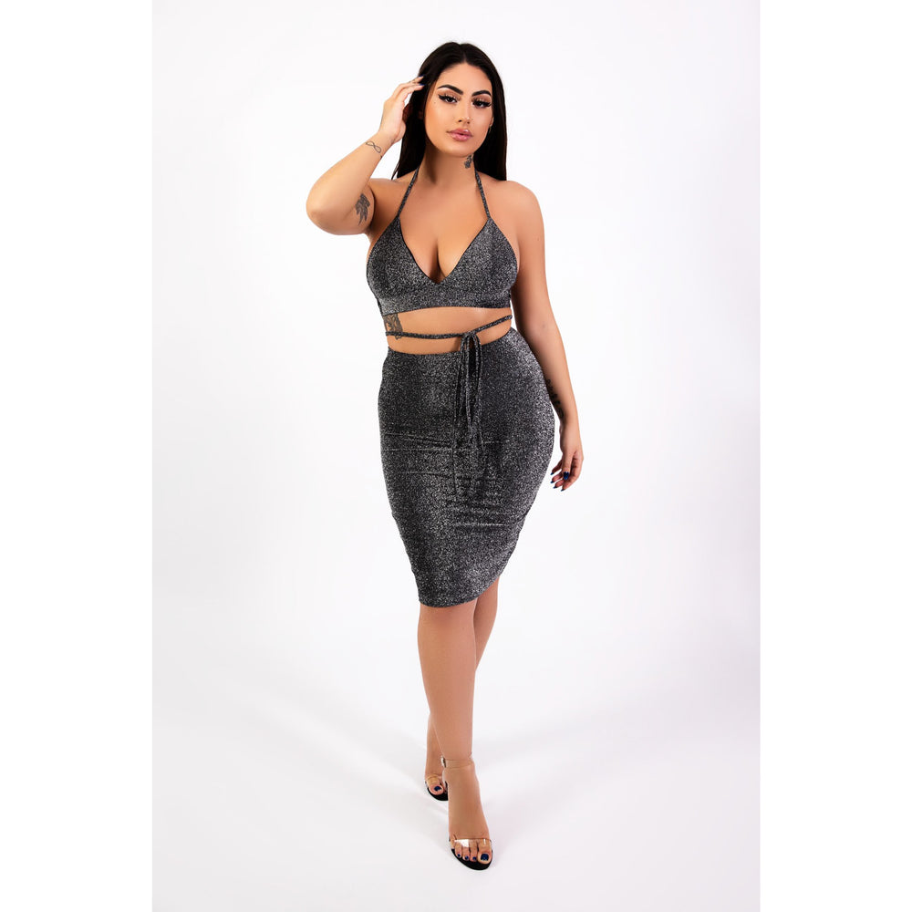 Samantha Tie Front women's 2 piece in black