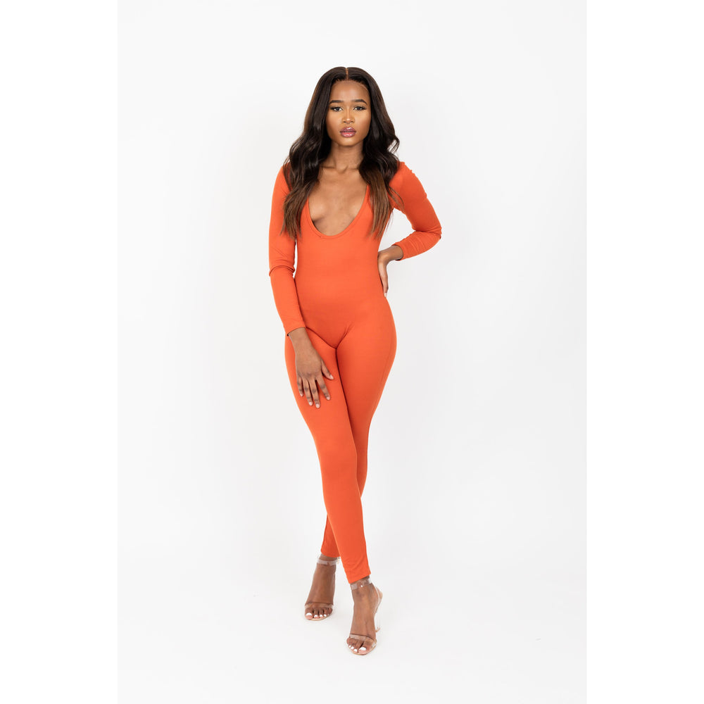 Women's skin tight v neck Jumpsuit